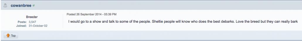 debarking sheltie forum
