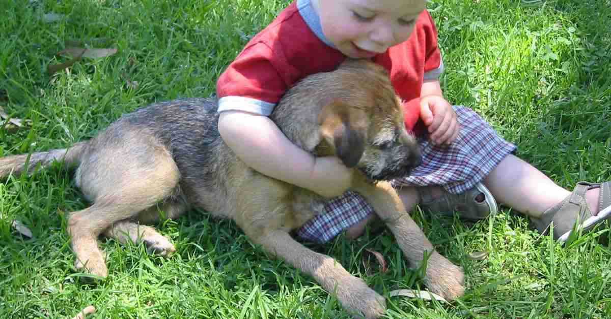 child cuddling dog